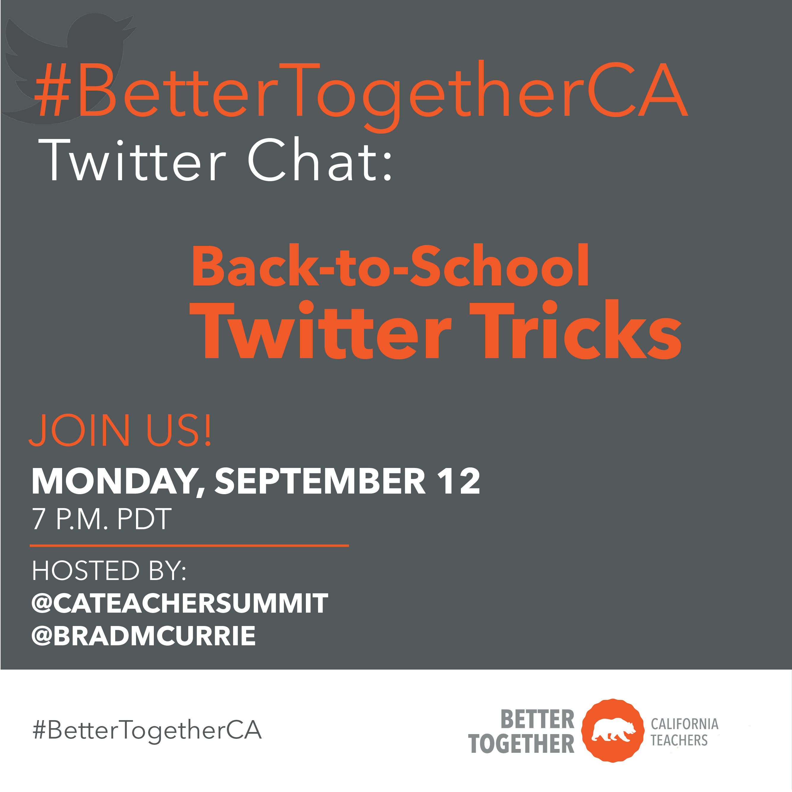 #BetterTogetherCA Twitter Chat